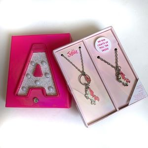 Justice Name Initial A Unicorn Charm Necklace Set